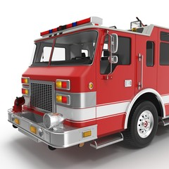 Fire truck or engine Isolated on White. 3D illustration