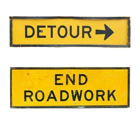 set of old road signs