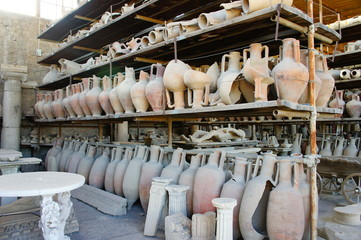 Ancient roman pots in Pompeii after volcano eruption , Italy