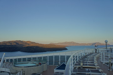 View of Santorini, island in Greece, from cruise ship