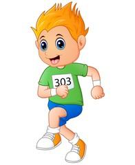 Running boy cartoon