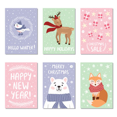 Christmas cards with funny animals and cute bird. Vector illustration for winter holidays.