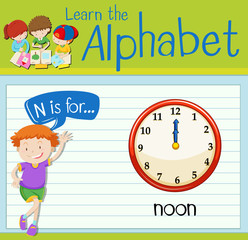 Flashcard letter N is for noon