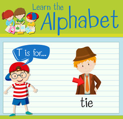 Flashcard letter T is for tie