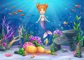 Vector cartoon illustration underwater world