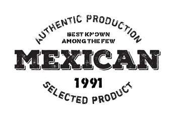 Authentic mexican product stamp. Grunge design with dust scratches. Effects can be easily removed for a clean, crisp look. Color is easily changed.