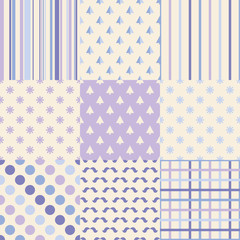 Set of 9 winter holiday backgrounds. Print. Repeating background. Cloth design, wallpaper.