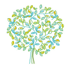 Green decorative tree design element in hand drawn relaxed style