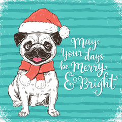 Merry Christmas greeting card with funny pug dog in Santa hat, vector illustration