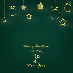 marry christmas and happy new year - vector xmas background (green)