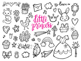 Little princess funny graphic set. Girls dress, flowers, clouds and rainbow, bird, butterfly, mirrow, sweets, gifts, diamond ring, hearts and stars. Isolated elements on a white background.