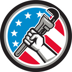 Plumber Hand Pipe Wrench USA Flag Side Angled Circle