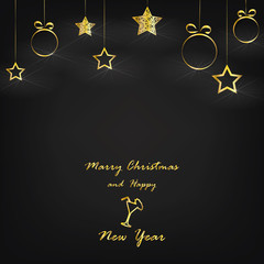 marry christmas and happy new year - vector xmas background (black)