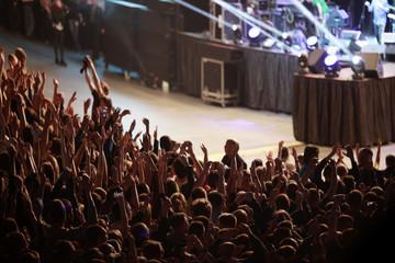 crowd, people's heads in the dark, concert, hands