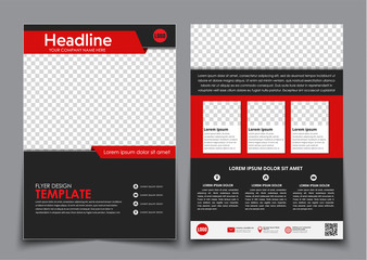 Template flyer black with red elements for printing. Wall mural