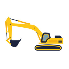 Hydraulic mining excavator vector icon. Heavy construction equip