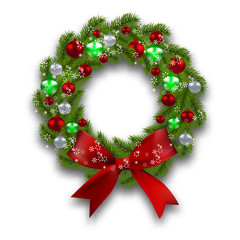 Christmas wreath. Green branch of fir tree with red, silver, green balls and ribbon on a white background. Christmas cards. illustration