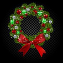 Green tree branch in the form of a Christmas wreath and snowflakes. Red, green and silver balls checker gradient background. illustration