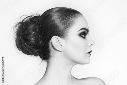 quotblack and white profile portrait of young beautiful woman