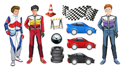 Racing cars and three racers