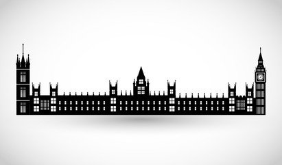 London Parliament and Big Ben silhouette vector