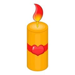 Valentine Day candle icon. Cartoon illustration of Valentine Day candle vector icon for web design
