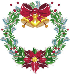 Christmas Wreath Vector with red bow and poinsettia
