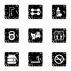 Active sport icons set. Grunge illustration of 9 active sport vector icons for web
