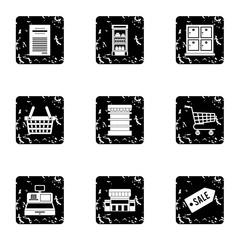 Supermarket icons set. Grunge illustration of 9 supermarket vector icons for web