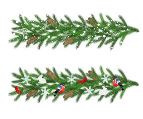 Garlands of green fir branches with snowflakes, cones, red berri