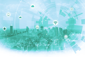 Fototapete - duotone graphic of smart city and wireless communication network, IoT(Internet of Things), ITC(Information Communication Technology), abstract image visual