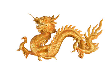 Golden Dragon isolated on white background