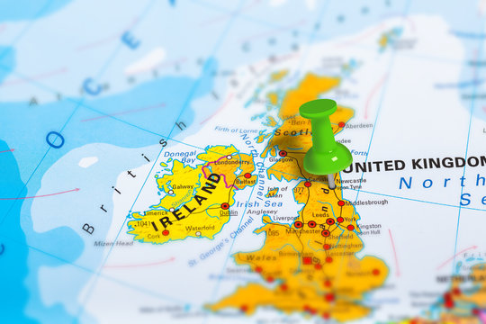 Newcastle in Scotland pinned on colorful political map of Europe. Geopolitical school atlas. Tilt shift effect.