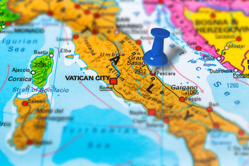Pescara in Italy pinned on colorful political map of Europe. Geopolitical school atlas. Tilt shift effect.