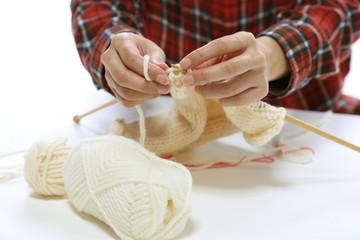 白い毛糸の編み物