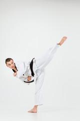 The karate man with black belt