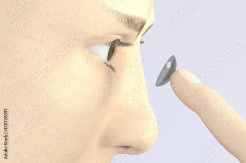 3d render of character putting contact lens in the eye