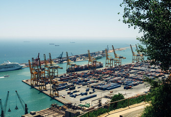 Commercial port with container ship