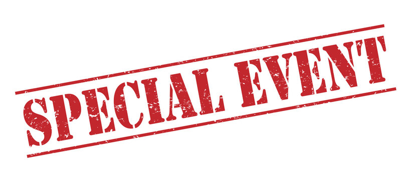 special event red stamp on white background