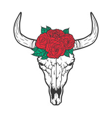 Bull skull with roses native Americans tribal style. Dotted Tatt