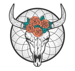 Bull skull with roses native Americans tribal style. Tattoo blackwork. Vector hand drawn illustration. Boho design