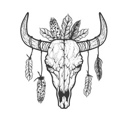 Bull skull with feathers native Americans tribal style. Tattoo b