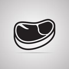Векторная иллюстрация иконка простой символ плоский для веб meat кусок мяса стейк
