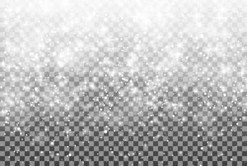 Falling snow on a transparent background. Vector illustration 10 EPS. Abstract white glitter snowflake background. Fall of snow. Magic Christmas eve snowfall.
