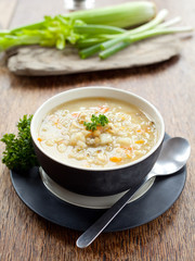 Barley and Vegetable thick healthy soup for winter.