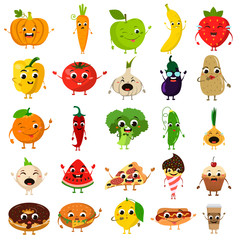 animated food flat icon set
