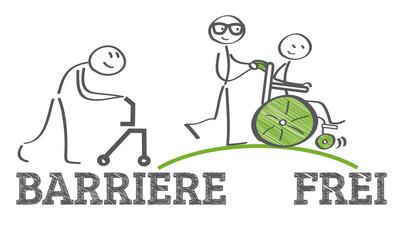 Barrierefreiheit - Strichmännchen schiebt Rollstuhl über eine