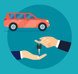 Rent and Buying Car. Hands holding car keys. Hand giving car keys.Vector flat illustration