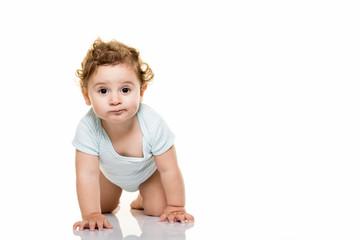 Baby on white background.