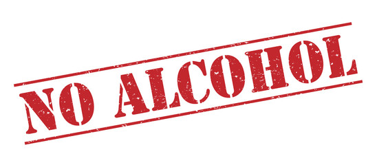 no alcohol red stamp on white background